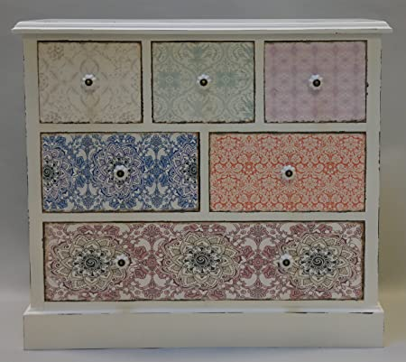Cómoda con seis cajones Armario de madera de colour blanco con diseño de shabby chic de armario, New