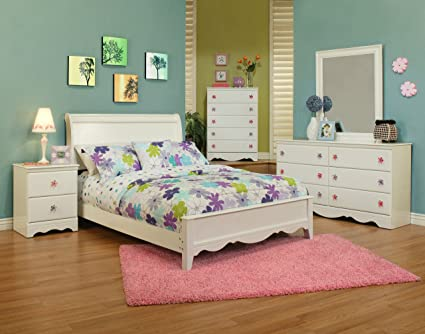 Sandberg Furniture Dulce Sleigh Bed with Rails, Twin, White