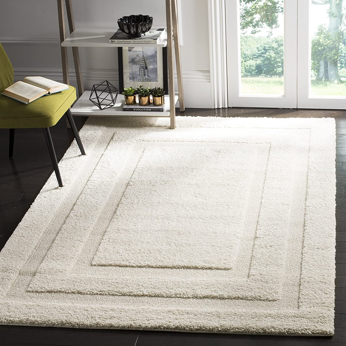 Safavieh Shadow Box Shag Collection SG454-1111 Cream Square Area Rug (5 Square)