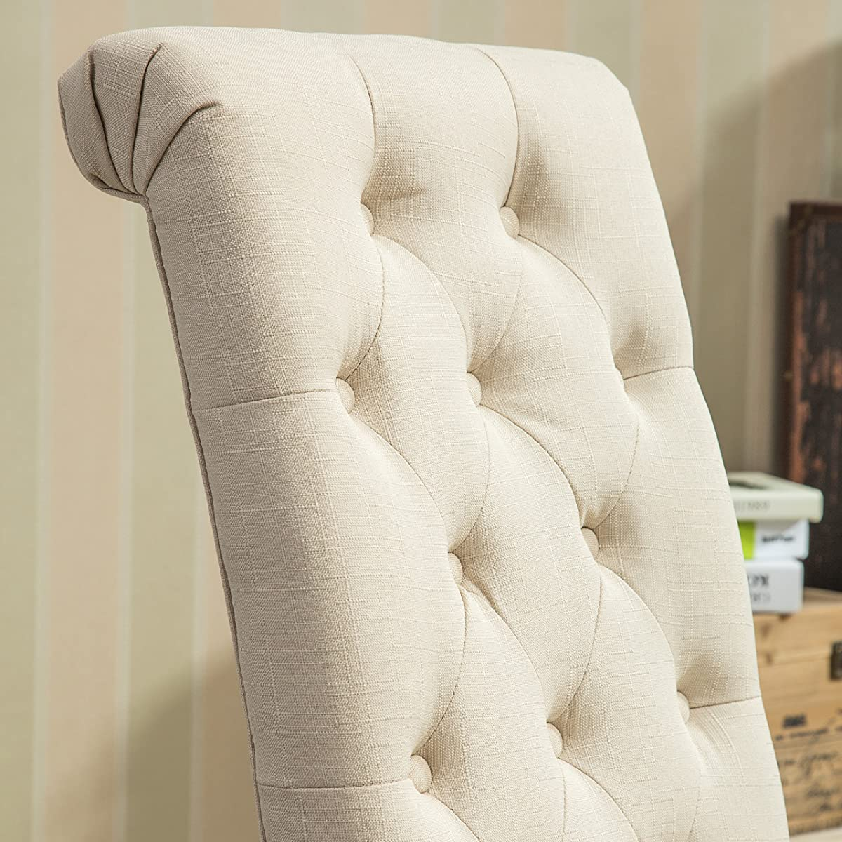 Roundhill Furniture Habit Solid Wood Tufted Parsons Dining Chair (Set of 2), Tan