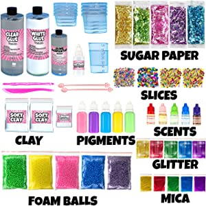Slime Kit for Girls - 2 in 1 - DIY Slime Making Kit Plus Slime Supplies Kit - All-Inclusive [57 Pieces Set] (Color: Pink, Tamaño: 57 pieces)
