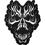 [Large Size] Papapatch Flaming Fire Burning Skull Biker Rider Motorcycle Jacket Vest Costume Embroidered Sewing Iron on Patch (IRON-FLAMING-SKULL-LARGE)