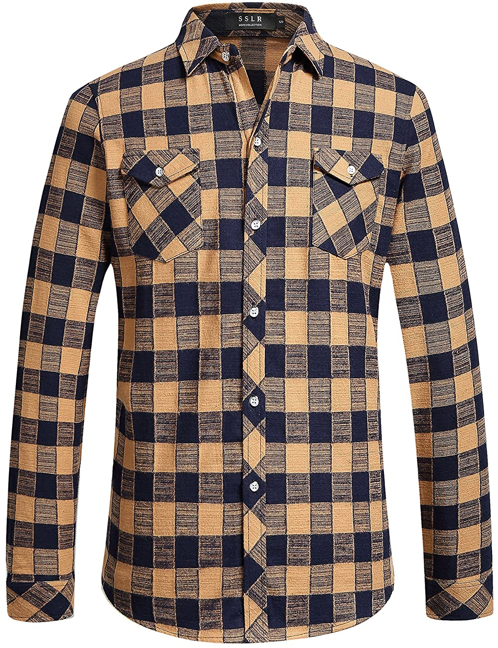 SSLR Men's Gingham Flannel Vintage Long Sleeve Shirt 0