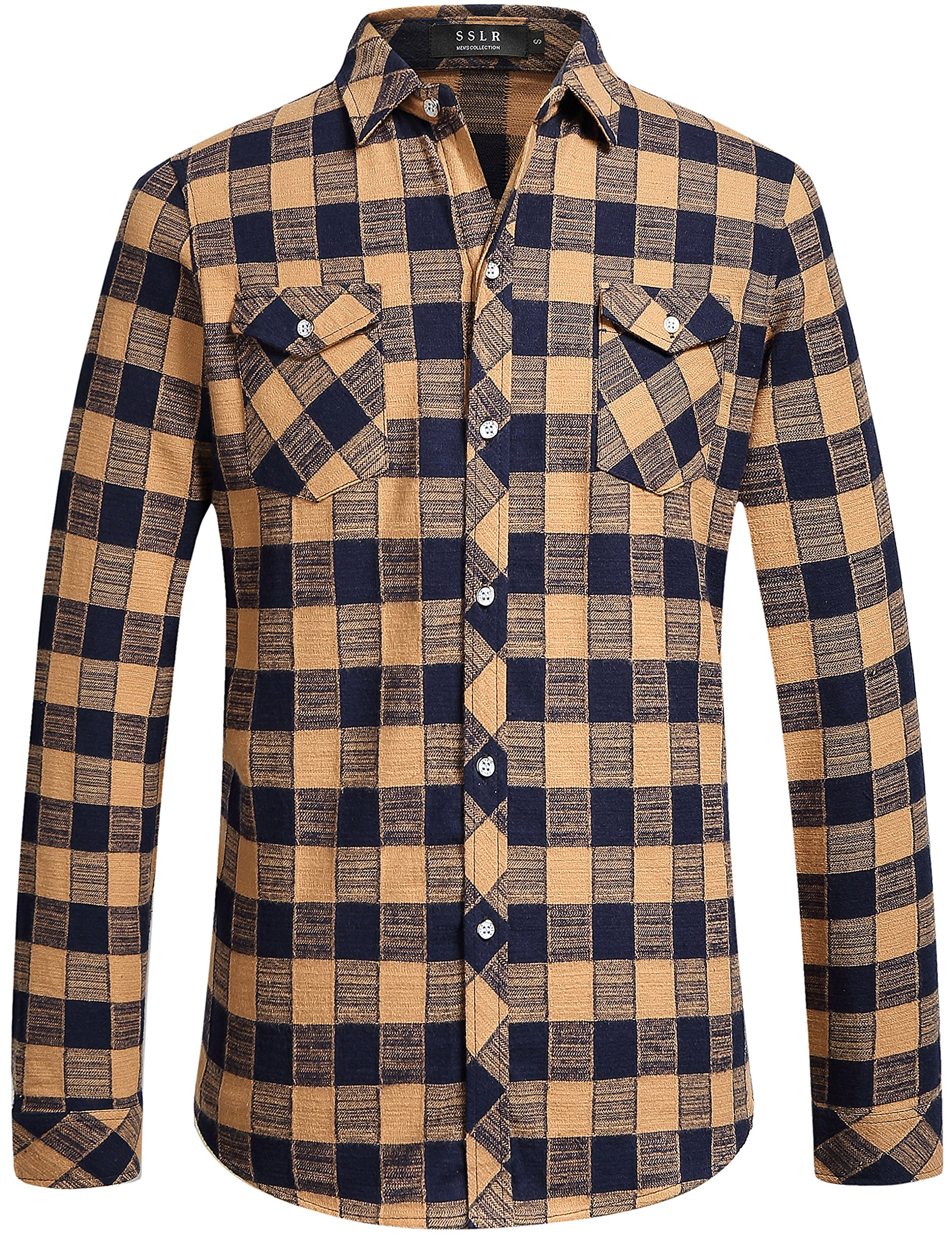 Sslr men 39 s gingham flannel vintage long sleeve shirt for Places to buy flannel shirts