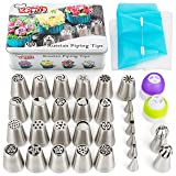 Russian Piping Tips Set 56 pcs Russian Flower Tips Cake. Include 21 Russian Cake Tips, Russian Ball Frosting Tips, Icing Tips Nozzles, Couplers. Best Cake Decorating Tips Cake Decorating (Color: Stainless Steel)