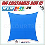 ColourTree 16' x 16' Blue Sun Shade Sail Canopy ?Square, Commercial Standard Heavy Duty, We Make Custom Size