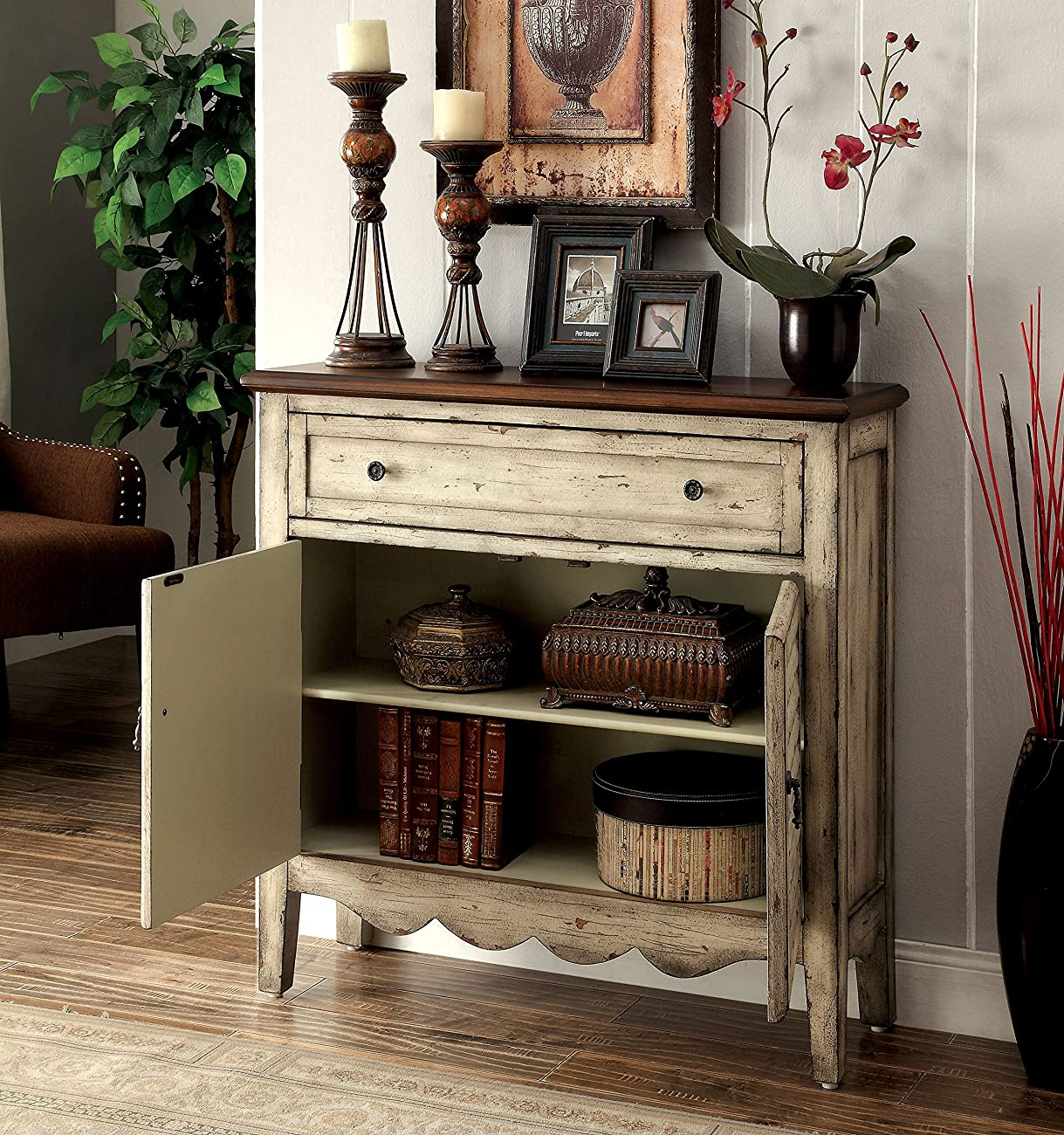 Furniture of America Gladen Vintage Style Storage Cabinet, Antique White/Brown 1