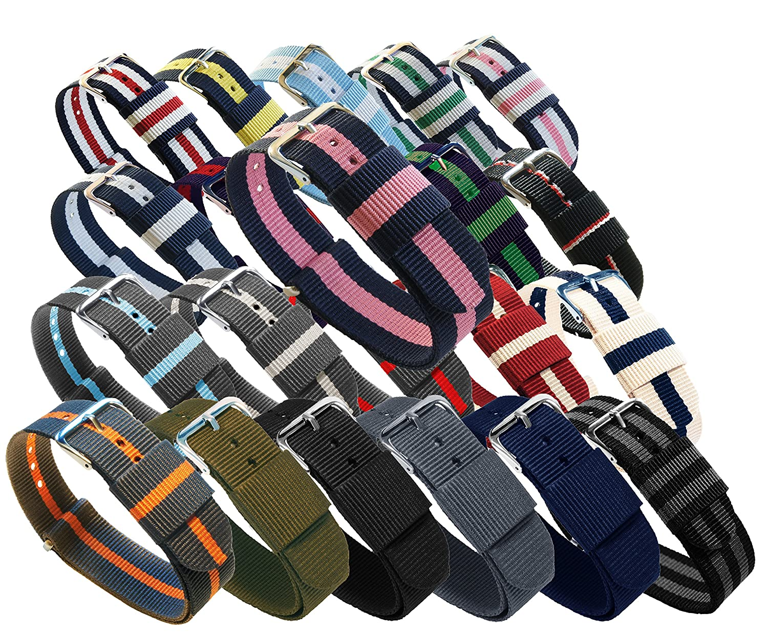 BARTON Watch Bands - Choice of Colors & Widths (18mm, 20mm or 22mm) - Ballistic Nylon, Stainless Steel