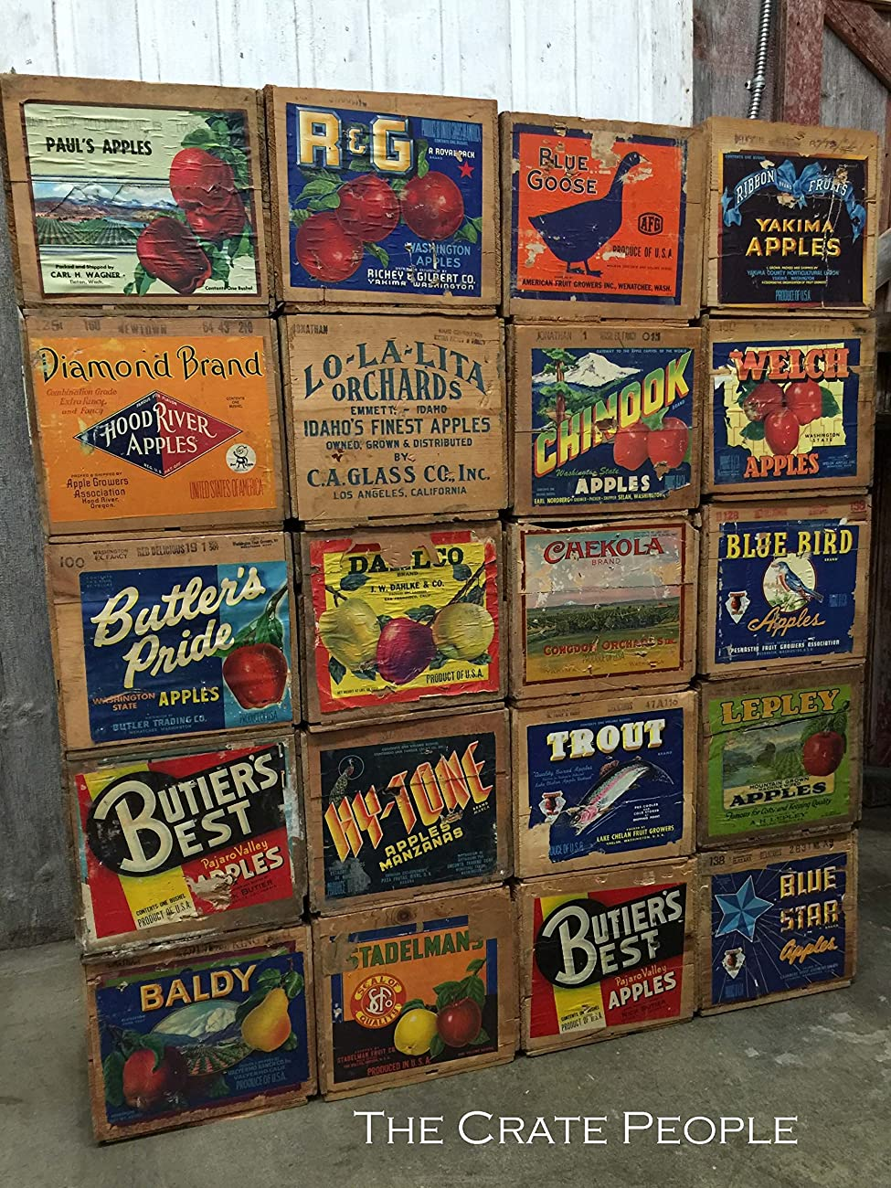 Vintage Wood Apple Crates circa 1940's - 50's - Colorful Old Labels HUNDREDS in stock	 4