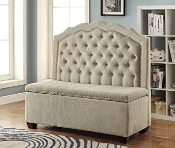 Furniture of America Danica Romantic Upholstered Love Seat with Storage, Beige