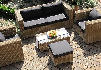 Lounge Wohnlandschaft 1 Sofa 2 Sessel 1Tisch 1 Hocker Rattan Polyrattan Geflecht  Gartenmöbel Natur Beige Braun Provence