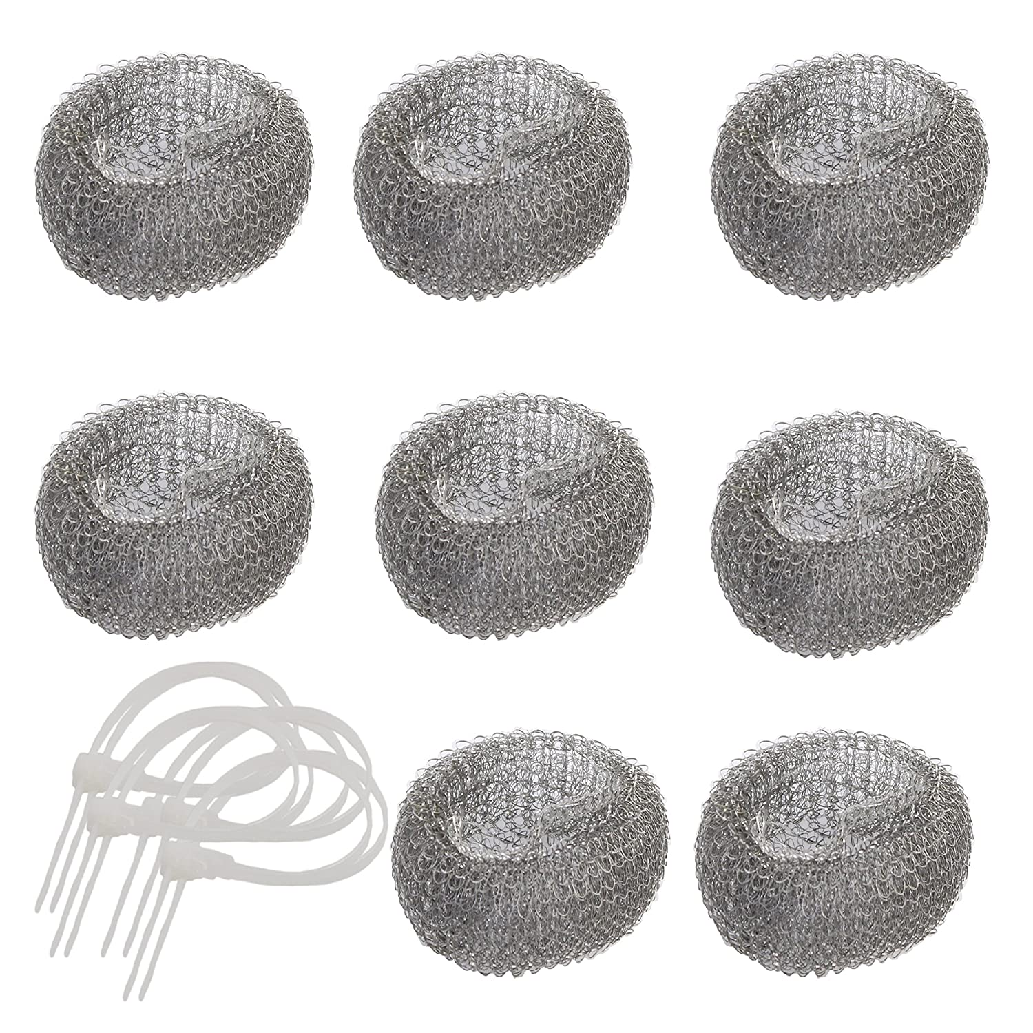 Pack of 8 Washing Machine Mesh Lint Traps with Clamps (Steel)