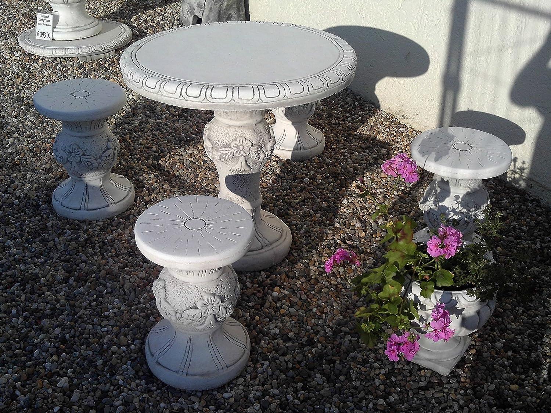 Gartenmöbel Tisch mit 4 Hocker aus Steinguss, frostfest günstig online kaufen