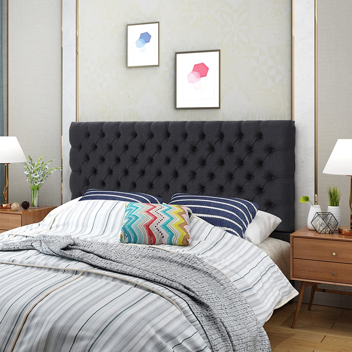 Hunter Dark Charcoal Fabric Queen/Full Headboard