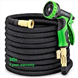 Water Hoses Expandable for Garden - 50Ft Flexible and Retractable Garden Hose Equipped with 9 Function Nozzle Sprayer, Double Latex Core, 3/4 Brass Connector Fitting with ON/Off Valve (Color: black, Tamaño: 50 ft)