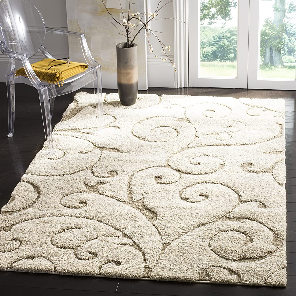 "Safavieh Florida Shag Collection SG455-1113 Scrolling Vine Cream and Beige Square Area Rug (67"" Square)"