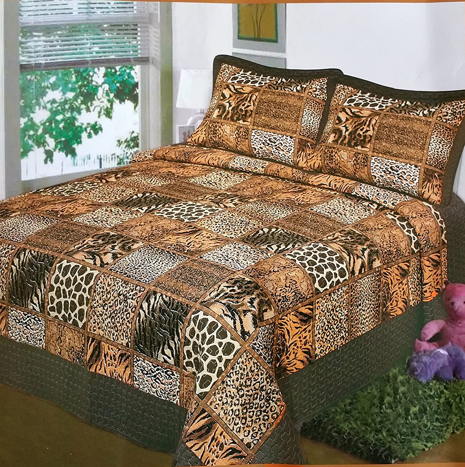 best tiger animal bedding sets - fancy collection  pc bedspread bed cover brown beige safari tiger giraffesnake leopard bedding (
