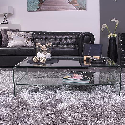 Homely - Mesa de centro de cristal curvado y templado de una pieza con revistero Murano