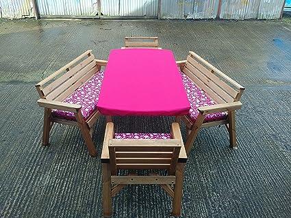 6'mesa 2bancos y 2sillas. De madera muebles de jardín de juego de. Con Cojín. Rosa