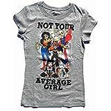 DC Super Hero Girls Not Your Average Girl Heather Gray Tee Shirt (Girl Sizes 4-16) (Medium 7/8)