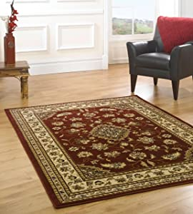 XLarge New Quality Traditional Rugs Red rug carpet 200 x 290 cm (6&'7  x 9&'6) Sherborne       Customer reviews and more information