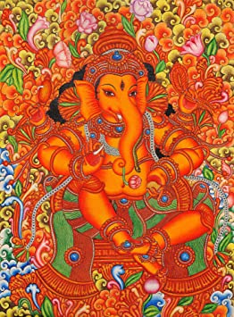 Exotic india lord ganesha in the style of mattanchery for Cost of mural painting