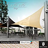 Royal Shade 16' x 16' x 16' Beige Triangle Sun Shade Sail Canopy Outdoor Patio Fabric Shelter Cloth Screen Awning - 95% UV Protection, 200 GSM, Heavy Duty, 5 Years Warranty, We Make Custom Size (Color: Beige, Tamaño: 16' x 16' x 16')