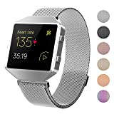 Fitbit Blaze Bands with New Metal Frame,Crodi Stainless Steel Magnetic Milanese Replacement Band for Fitbit Blaze Women Men Sliver Small (Color: Silver, Tamaño: S: 5.5