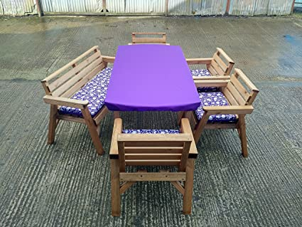 6'cuadro 1banco y 4sillas. Madera de muebles de jardín de juego de. Con Cojín. Color morado