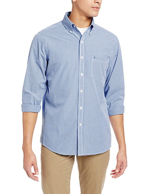 IZOD Men's Long Sleeve Slim Fit Essential Gingham Button-Down, Navy Dock, 2X-Large
