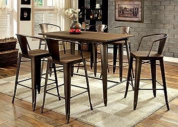 Furniture of America Cadiz 7-Piece Industrial Pub Dining Set