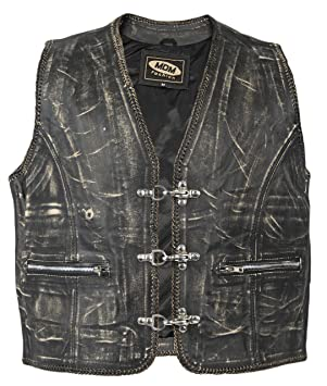 Veste gilet en cuir Biker dans le style vintage (XXXL)