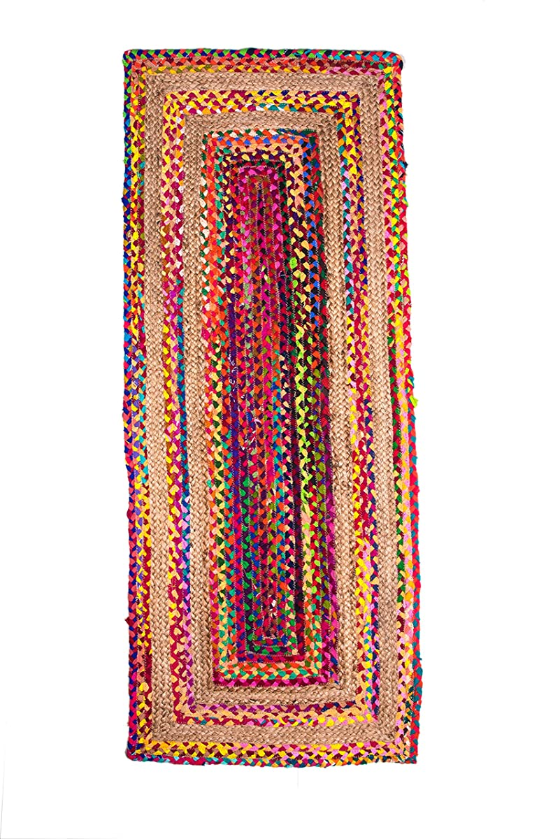 Hand Woven Jute/Cotton Multi Chindi Braided Rug Runner for Kitchen, Living & Bedroom 2X5-Feet, attractive look