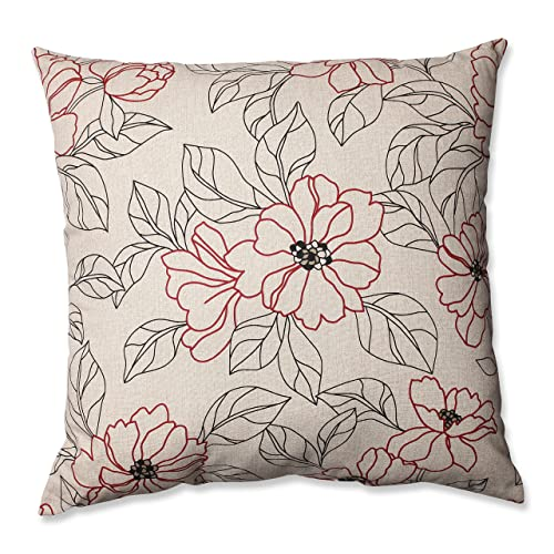 Pillow Perfect Floral Decorative Square Floor Pillow, 24.5-Inch by 24.5-Inch, Red/Beige