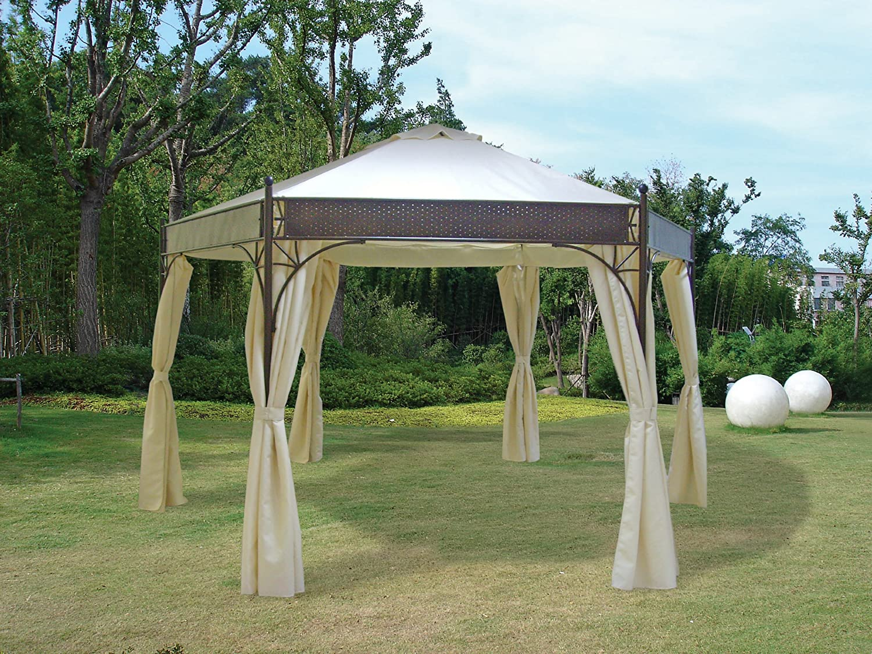 Pavillon LAGOS 6-eckig 350cm Durchmesser, Stahlgestell + Dach wasserdicht ecru günstig online kaufen