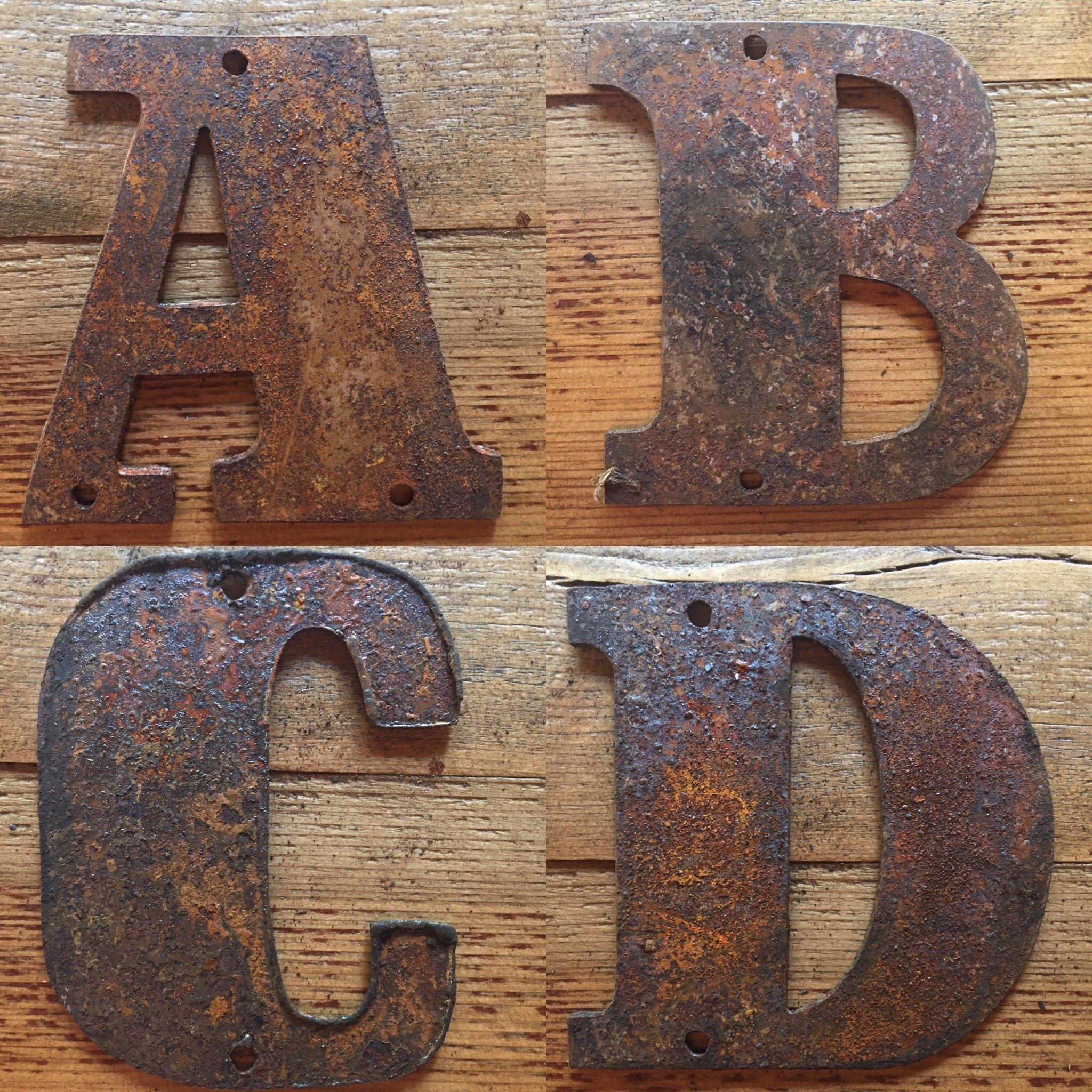 Rusty Metal Letters Predrilled 4 Quot Tall For Art Sign