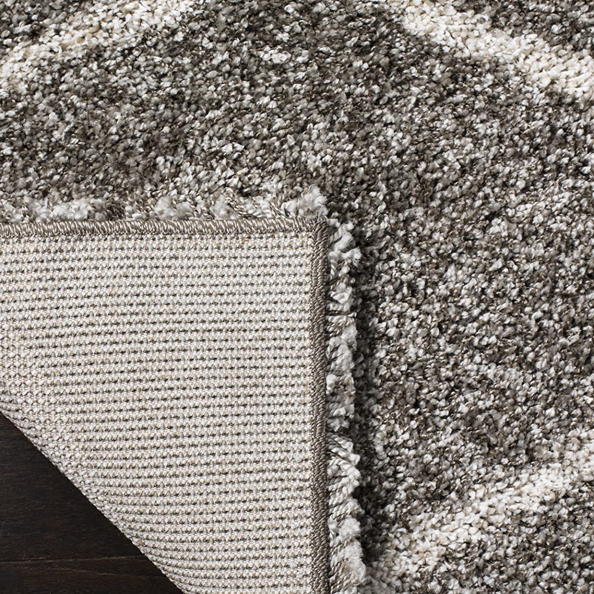 Safavieh Hudson Shag Collection SGH280B Grey and Ivory Moroccan Ogee Plush Square Area Rug (7 Square)