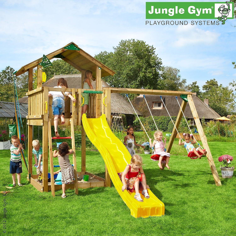 Jungle Gym Hannas CHALET – Spielturm Set mit Schaukel und Rutsche – ROT günstig online kaufen