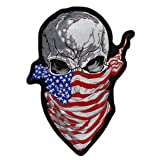 Ruthless Skull US Flag Bandana Patch | Patriotic Iron On Embroidered for Motorcycle Jacket- by Nixon Thread Co. (11.5