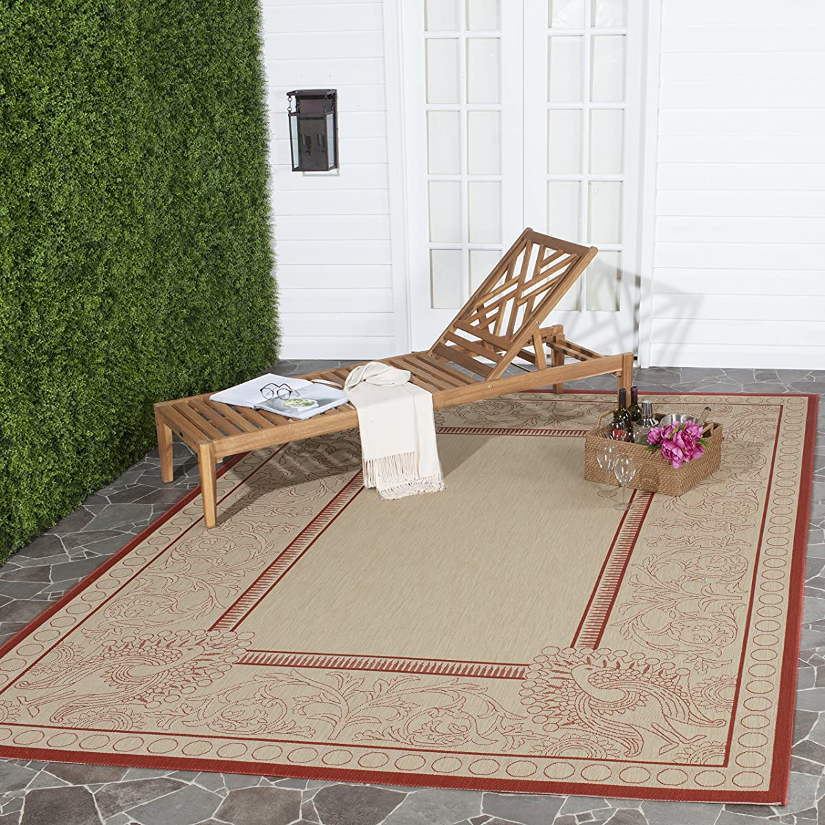 "Safavieh Courtyard Collection CY2965-3701 Natural and Red Indoor/ Outdoor Square Area Rug (710"" Square)"