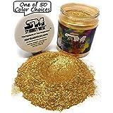 Gold Mica Powder Pigment Flake, Resin, Cosmetics Grade Gold Flecks Pigment Powder, Gold Shimmer Mica Pigment for Resin Making, Casting Pigment, Metal Powder, Stardust Micas Gold Sparkle (Color: Gold Sparkle, Tamaño: 72 Gram Jar)