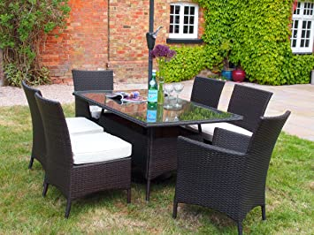 Barcelona Rectangular Grey Rattan Garden Furniture Table and 6 Chairs Dining Set