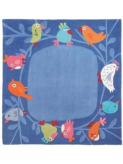 haba teppiche kinderzimmer kinderteppich v gelchen blau 140x140 cm pr fsiegel dc569. Black Bedroom Furniture Sets. Home Design Ideas