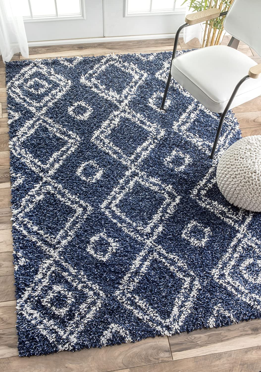 Trellis Area Rug Blue Shag Navy 5x8 Lattice Carpet