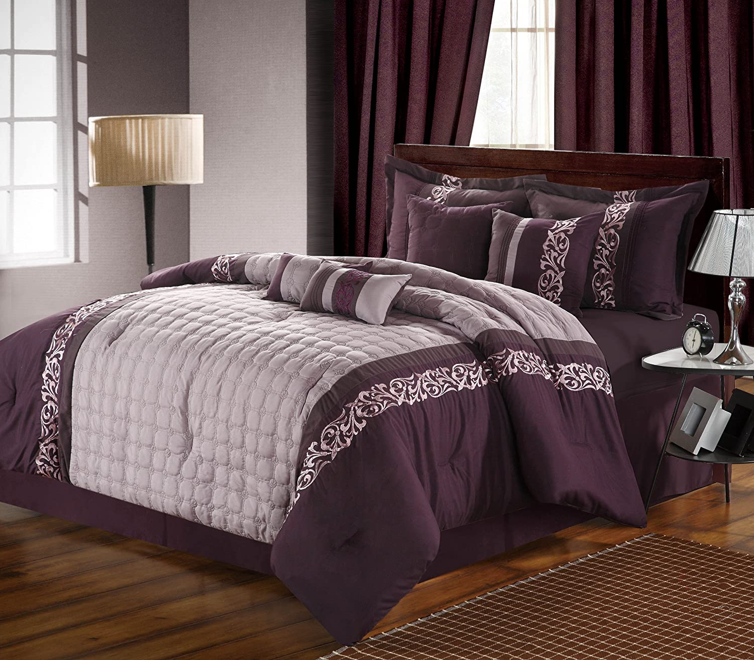 Chic Home 8-Piece Glendale Embroidered Comforter Set, King, Plum/Purple