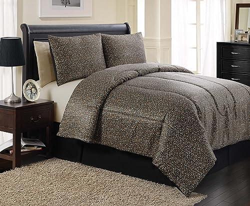 victoria classics leopard satin 4piece comforter set