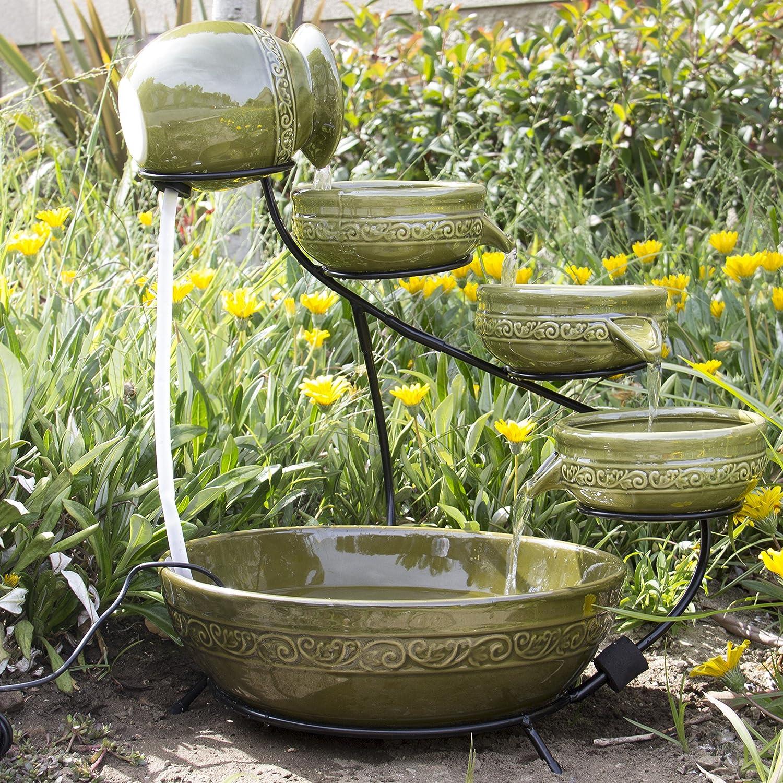 Cascading Ceramic Solar Powered Garden Fountain