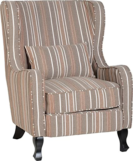 Seconique Sherborne Fireside Chair - Beige Striped Fabric