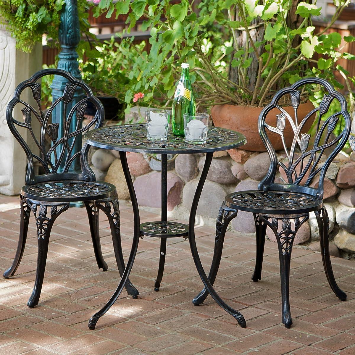 Best Selling Nassau Cast Aluminum Outdoor Bistro Furniture Set, Brown