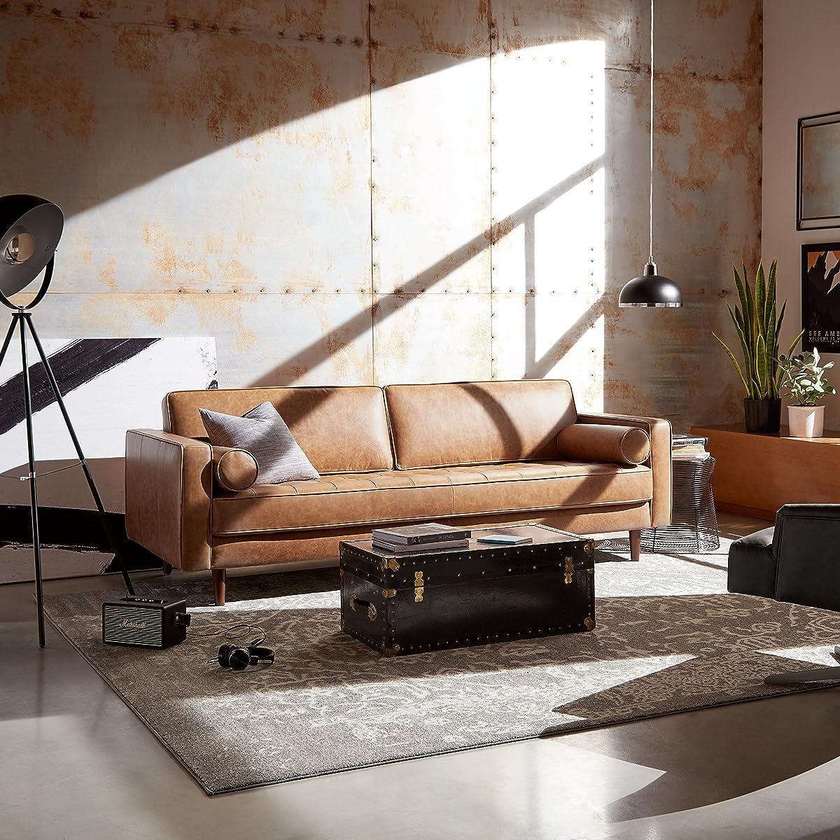 "Rivet Aiden Tufted Mid-Century Leather Bench Seat Sofa, 86.6"" W, Cognac"